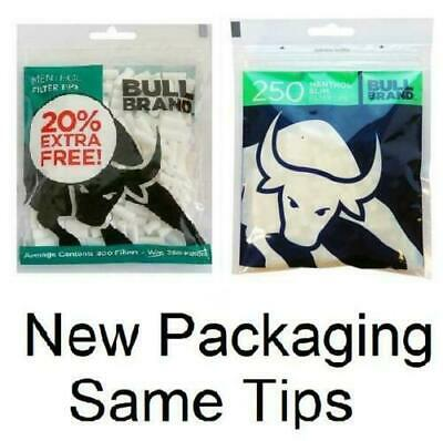 New BULL BRAND 300 Menthol Filter Tips 6MM RESEALABLE Bag Cigarette Tobacco