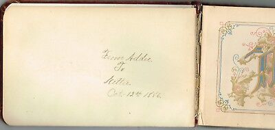 1880's Red Velvet Autograph Album With 9 Entries From Friends Of Nettie New York