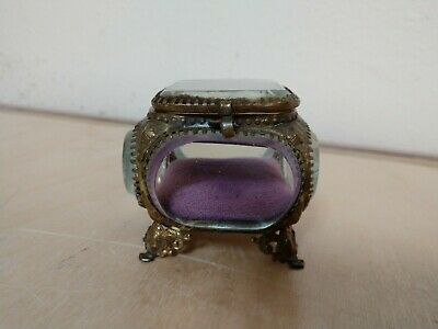 Antique French Ormolu Thick Beveled Glass Jewelry Casket Box