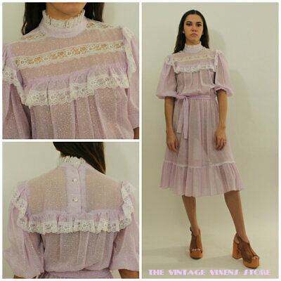 VTG 70s Victorian Ultra Sheer Lilac Micro FLORAL Lace Prairie Hippy Dress xs/s