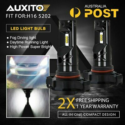 2x 5202 H16 6000K White High Power CSP Fog Light LED Driving Bulb DRL 2600Lumen