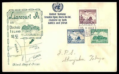 Korea Scott 200-202 Liancourt Island 1954 FDC First Day Cover Unsealed Flap