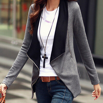Outerwear Women Patchwork Long Sleeve Jackets Side Zipper Slim Small Coat Tops Z