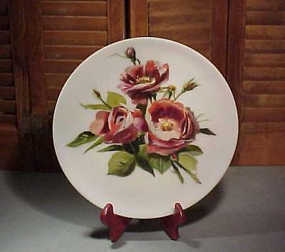 C.1890 SATIN GLASS PLATE Handpainted RED ROSES