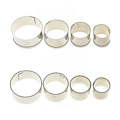 4 pcs Stainless Steel Round Circle Cookie Fondant Cake Mould Cutter Tool Hot Ao