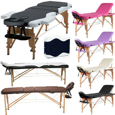 Comfortable Adjustable Beauty Salons Massage Bed Portable Folding Wooden Leather