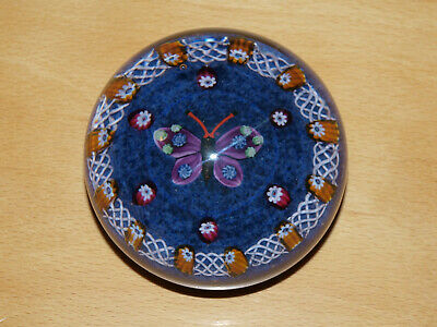Lovely Scottish Butterfly Paperweight Millefiori & Latticino Border, Paul Ysart?