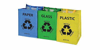 Set Of 3 Recycling Recycle Bags Colour Coded Plastic Glass Paper Storage Bin Bag