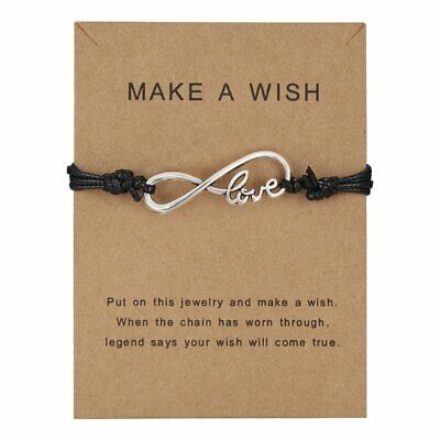 Mother's Day Gift Make a Wish Love Card Bracelet Charm Women Friendship Jewelry