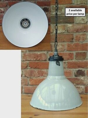 """Vintage Grey 16"""" Thorlux 1950s Industrial Enamel Lamp/Lights REWIRED 2 available"""