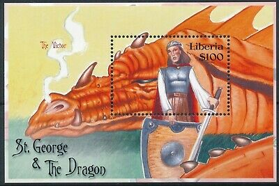 [H16384] Liberia 2001 LEGENDS - St George & The Dragon Good sheet very fine MNH