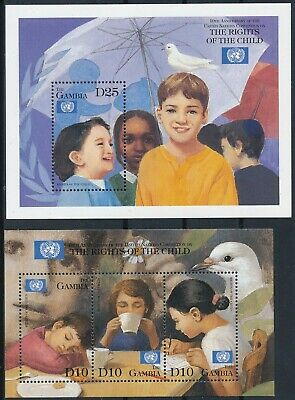 [H16663] Gambia 1999 CHILD'S RIGHTS Good set of 2 sheets very fine MNH