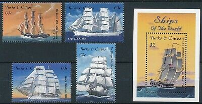 [H16856] Turks & Caicos 2001 BOATS Good lot set of stamps + sheet very fine MNH