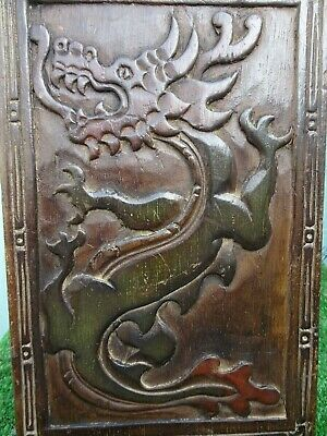 SUPERB 19thC GOTHIC WOODEN PANEL with GARGOYLE FIGURE, CLAWED FEET, OTHER c1890s