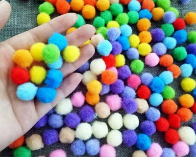 300Pcs 15MM Poms Fluffy Balls Acrylic Felt Card Embellishments Kids Pompoms