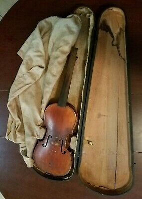 Antique grandpas early 1900's Fiddle Violin Original stamped G.S.B. wooden case