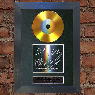 #178 IMAGINE DRAGONS Evolve GOLD DISC Cd Album Signed Autograph Mounted Print
