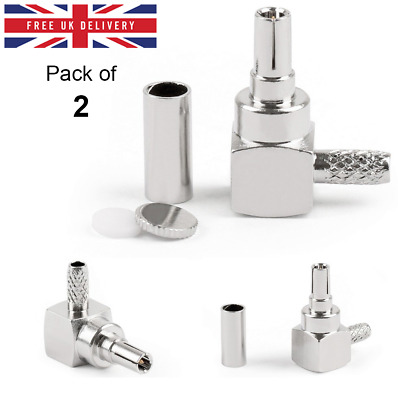 2 Pack - CRC9 Connector Male Crimp Plug Right Angle for RG174 RG316 RF Connector