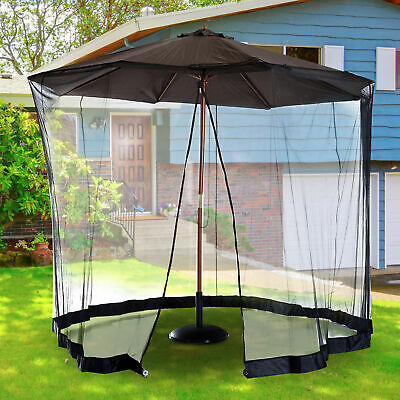 Outsunny 7.5ft Umbrella Table Screen Mosquito Bug Insect Net Outdoor Patio Black