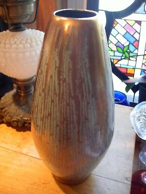 Mid Century  Ceramic Vase made in W. Germany # 594 TURQUOISE AND GOLD 10 1/2