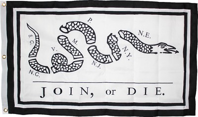 Join Or Die Flag 3'X5' Heavy Canvas All Sewn Reproduction Of Original Americana