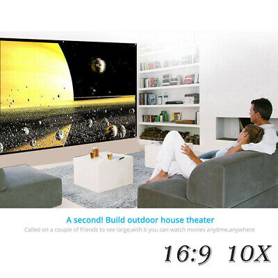 """100"""" 16: 9 Polyester Portable No Creases HD Home Theater Outdoor 3D Movies X10"""
