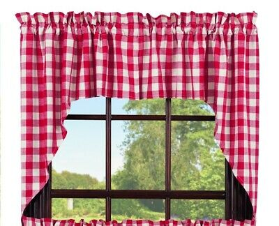 country cabin farmhouse kitchen Picnic Red & white plaid pattern Swags curtains