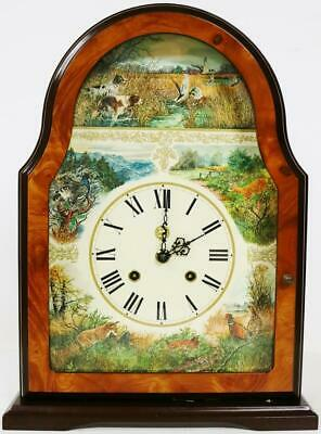 Beautiful Antique 8 Day Franz Hermle Burr Walnut & Hunting Dial Mantle Clock