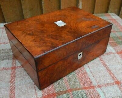 Antique 19Th C. Mother Of Pearl Inlay Walnut Sewing Box ~ Work Box