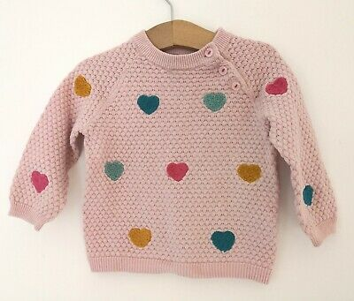 Baby Girls H&M Baby PINK Fluffy Heart Detail Textured Knit JUMPER Top 6-9 months