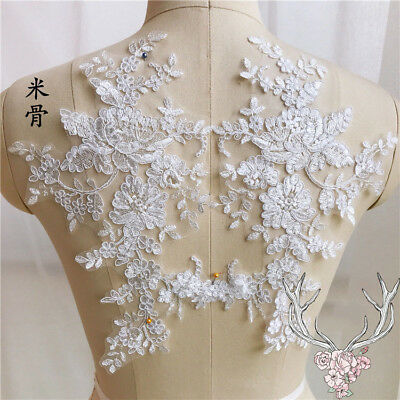 Applique Lace Trim Embroidery Sewing Motif  DIY Wedding Bridal Crafts 1 Pair