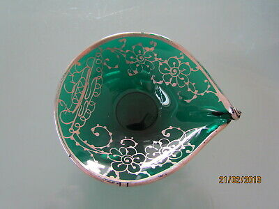 Vintage Silver Overlay Green Glass Dish 4 inch
