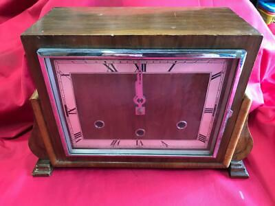VINTAGE WOODEN ART DECO STYLE MANTLE CLOCK with BRASS MOVEMENT
