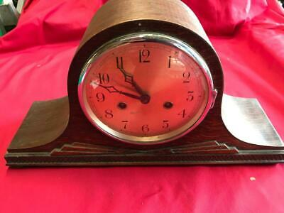VINTAGE WOODEN MANTLE CLOCK with BRASS MOVEMENT 89698