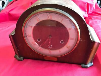 VINTAGE SMITHS WOODEN MANTLE CLOCK with BRASS MOVEMENT & PLAQUE DATED 1957