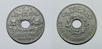 LEBANON : 1 PIASTRE 1936 aEF - Lightly Toned with Background Lustre - NICE