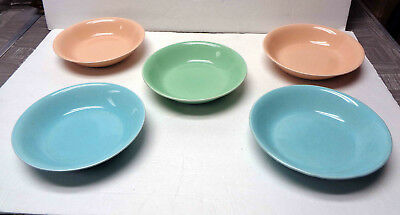 "Five Vintage Universal Potteries 8"" Pastel Soup/Cereal Bowls"