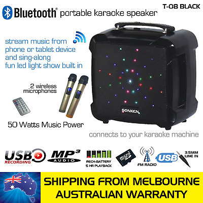 Black Powered Bluetooth Karaoke Party Speaker, 2 Wireless Mics, Party Lights