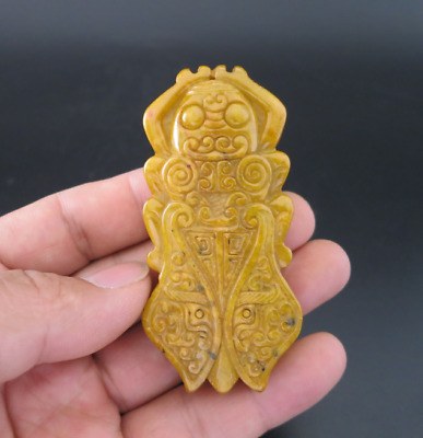Old Chinese HongShan culture jade Hand-carved cicada amulet pendant Y1990