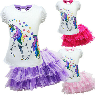 Girls Unicorn Tops T-shirt + Lace Tutu Skirt Outfit Clothes Kids Party Dress Kid