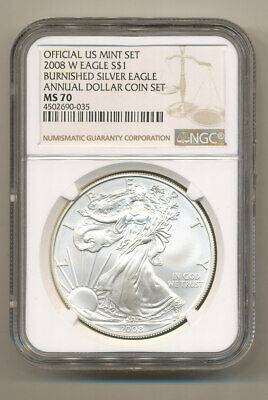 NGC MS70 2008 W ANNUAL Uncirculated Dollar coin Set burnished Silver Eagle