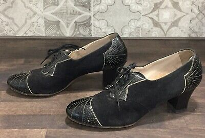 Antique Vintage 1930's-1940's Women's Sz 8 Black Suede Leather Laceup Shoes