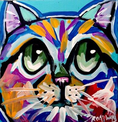 Broadway Colorful Original Acrylic 3 x 3 in. Expressionism Cat painting