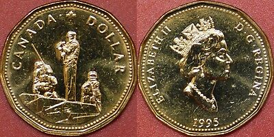 Brilliant Uncirculated 1995 Canada Peacekeeper 1 Dollar From Mint's Roll