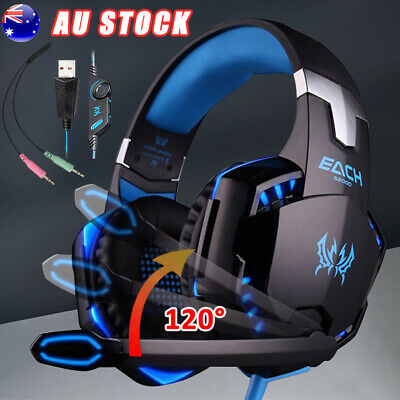 AU 3.5mm Gaming Headset LED Headphones MIC for Laptop PC PS4 Xbox One 360