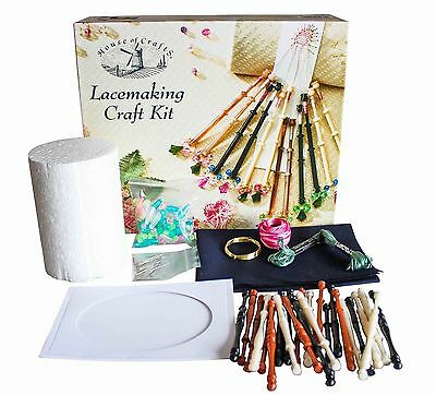 House Of Crafts Lacemaking Craft Kit Gift Set Bobbins Wire Pillow Beads Fabric