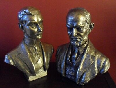 Rolls-Royce Pair of Portrait bronze busts of Hon C.S. Rolls & Sir Henry Royce