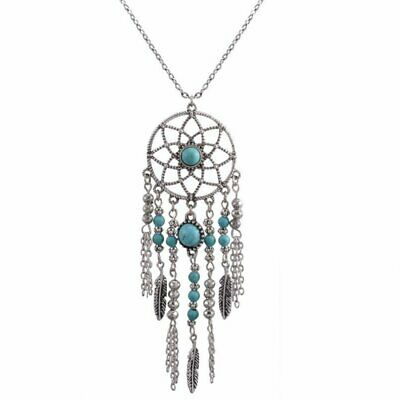 Women Retro Turquoise Feather Dream Catcher Pendant Long Sweater Chain Necklace