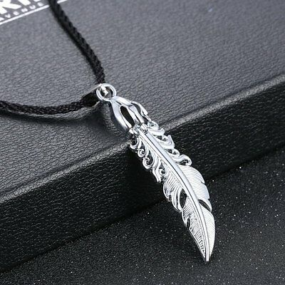 Stainless Steel Men Silver Feather Pendant Leather Chain Necklace Jewlery Gift