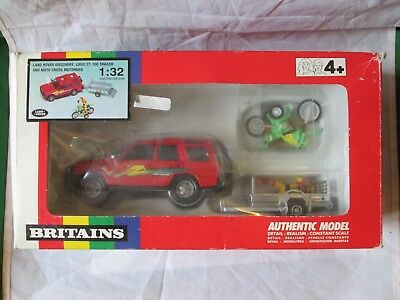 Britains Land Rover Discovery Logic Trailer & Motocross Motorbike 1/32 #9663